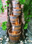 Tumbling Barrels Water Feature With Light