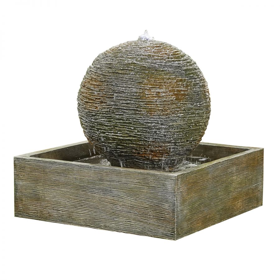 W90cm Dark Planet Resin Sphere Water Feature with Lights