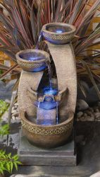 Azure Columns Water Feature With LED Lights