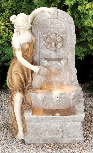 Lady At The Spring Water Feature With Halogen Lights
