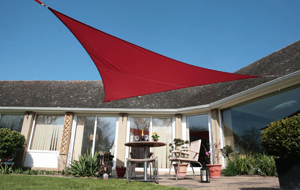 Kookaburra® 5m Triangle Wine/Burgundy Waterproof Woven Shade Sail