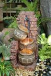 3 Pots On Brick With Tap