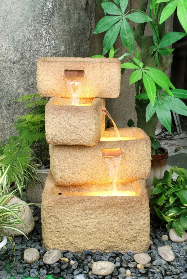 4 offset sandstone troughs water feature with lights. Black Bedroom Furniture Sets. Home Design Ideas