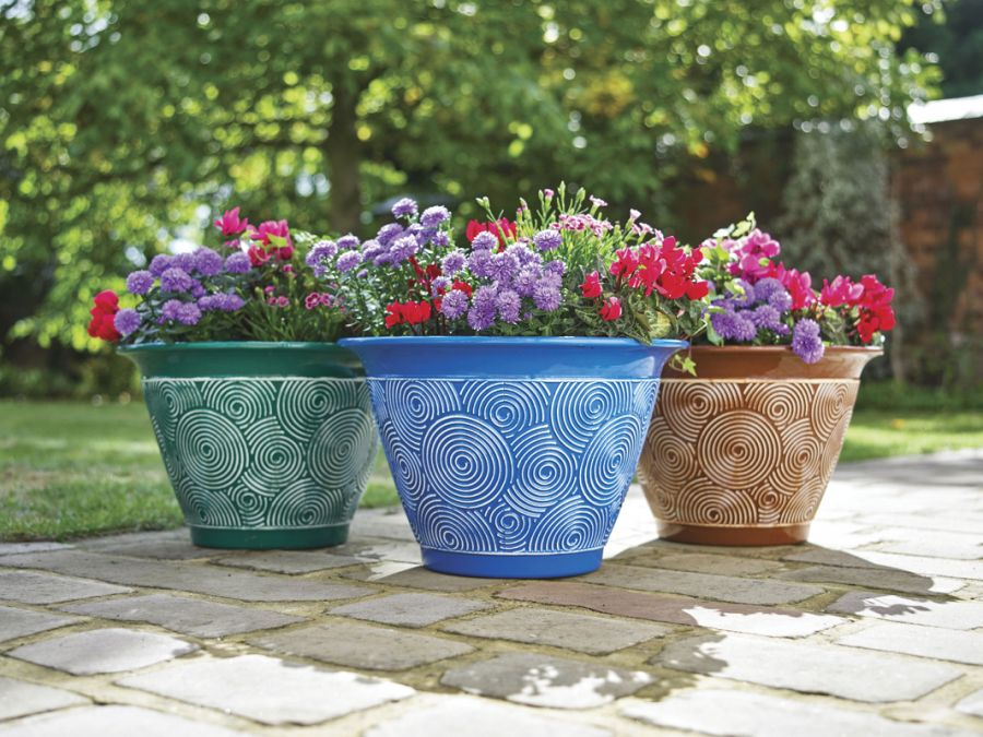 Ceramic Effect Brompton Planters Terracotta/Green/Blue