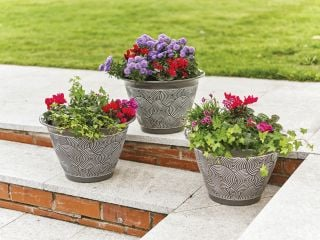 Brompton Planters Ceramic Effect - Grey - Pack of Three