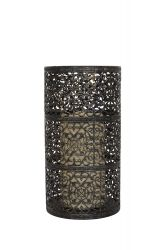 24cm Metal Medium Valen LED Candle Lantern by La Hacienda