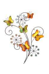 58cm 3D Butterflies and Flowers Metal Wall Art by La Hacienda