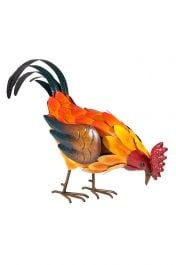 27cm Steel Feeding Rooster Garden Ornament by La Hacienda