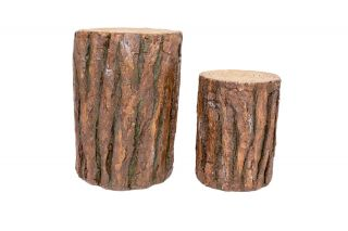 52cm & 37cm Resin Log Set of 2 Garden Ornament by La Hacienda