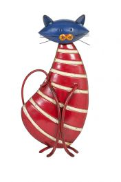 42cm Stripy Cat Garden Ornament by La Hacienda