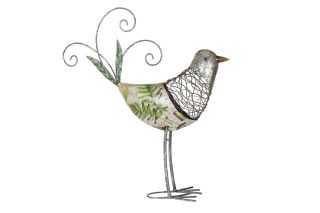 49cm Steel Fleur Decoupage Bird Garden Ornament by La Hacienda