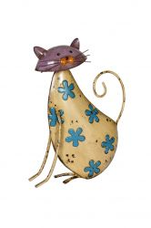 29cm Flowery Cat Garden Ornament by La Hacienda
