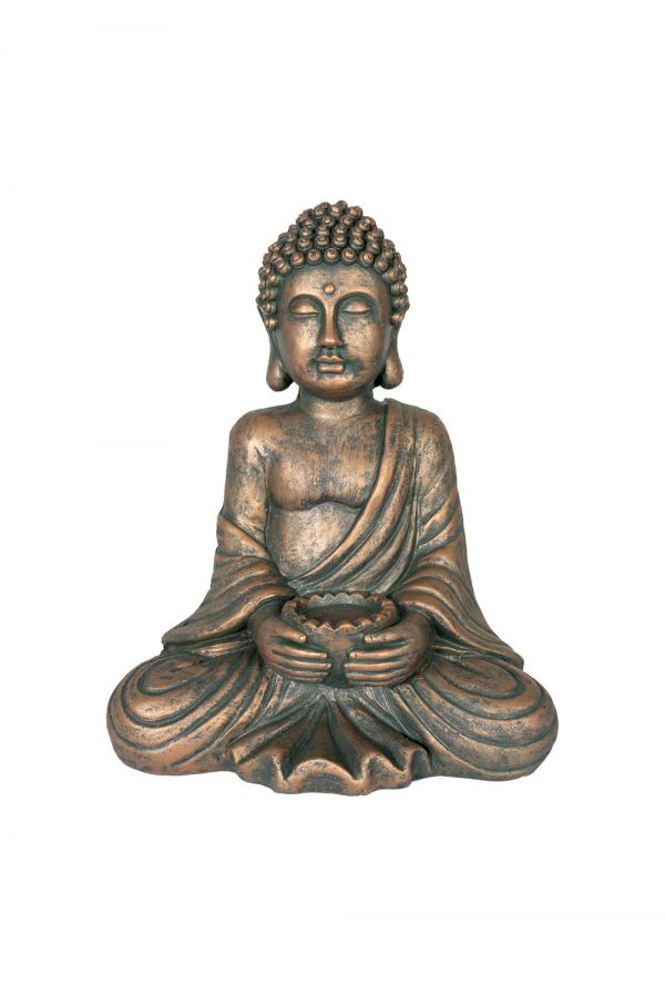 30cm Resin Medium Seated Buddha Garden Ornament by La Hacienda