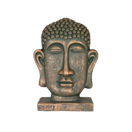 31cm Resin Small Male Buddha Head Garden Ornament by La Hacienda