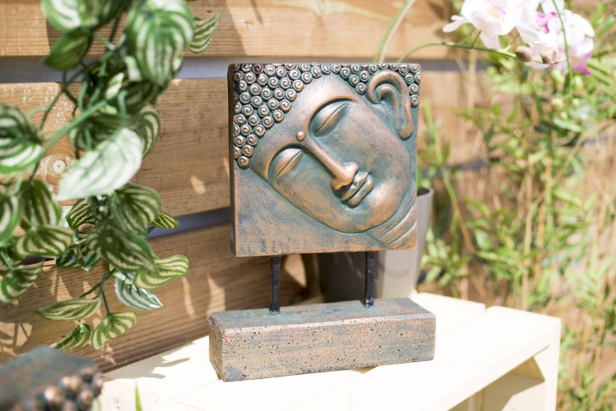 30cm Resin Small Female Buddha Head Garden Ornament by La Hacienda