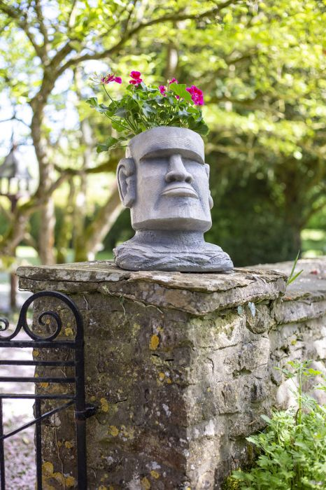 34cm Resin Large Easter Island Head Planter By La Hacienda