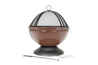 56cm Chrome Steel Globe Firepit by La Hacienda