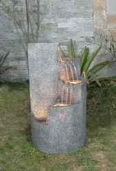 Granite Effect Round Quadrant Water Feature with Lights