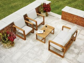 Rimini Hardwood Sofa Set with Cushions - Natural