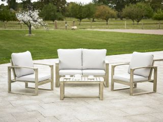Rimini Hardwood Sofa Set with Cushions - Light Grey/Cream