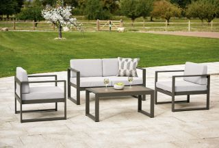 San Remo Metal Sofa Set with Cushions - Grey/Cream