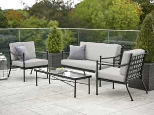Harvington Metal Sofa Set with Cushions - Grey/Cream