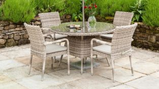 Kool Rattan Dining Table with Glass Top 120cm
