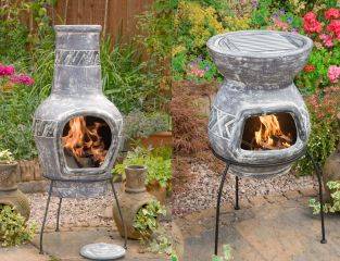 San Jose Clay Chimenea - Large and BBQ