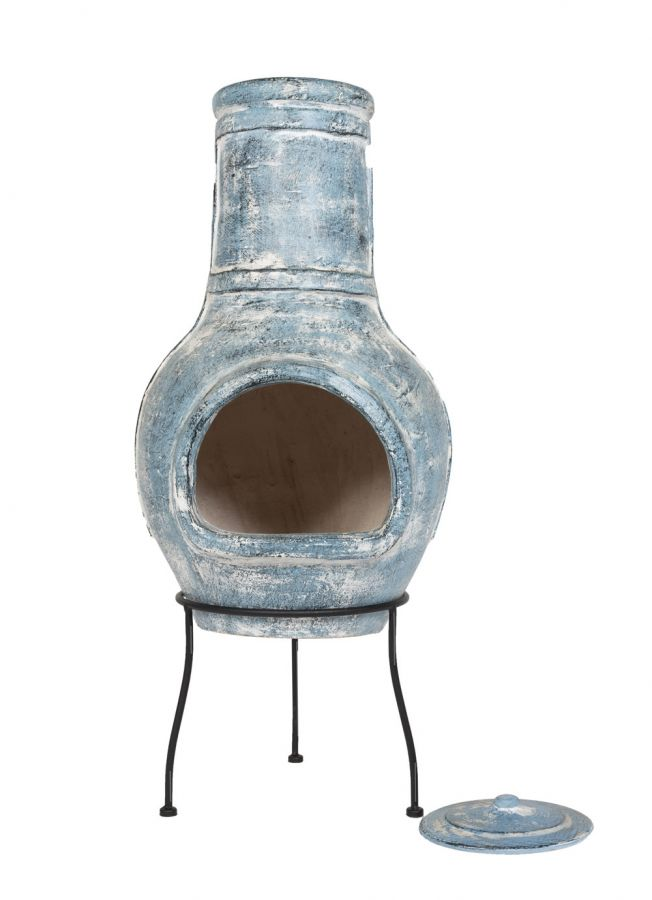 94cm Clay Blue Banded Clay Chimenea by La Hacienda