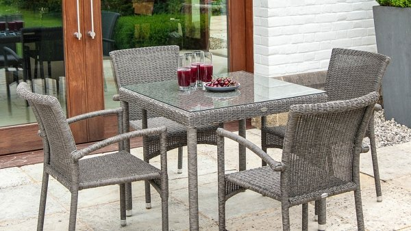 Alexander Rose Monte Carlo Rattan Dining Table with Glass Top