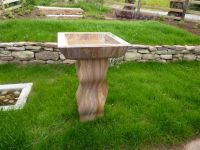 Sandstone Bird Bath with Waved Column