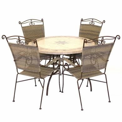 Desert Mosaic Garden Table & 4 Rattan Chairs