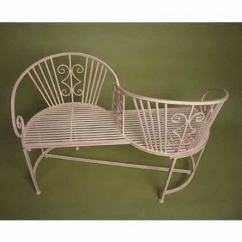 Antique White Iron Rectory Garden Loveseats