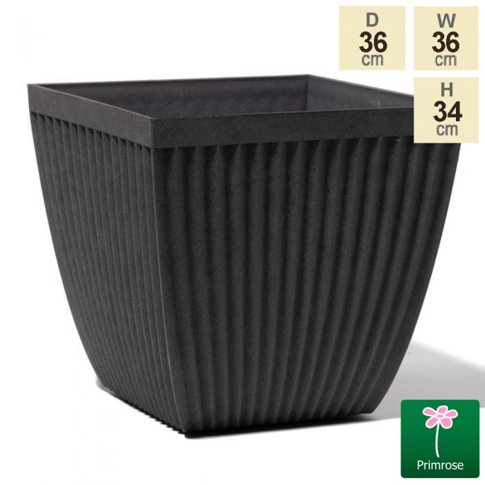 35.5cm Flared Square Grey Textured Planter