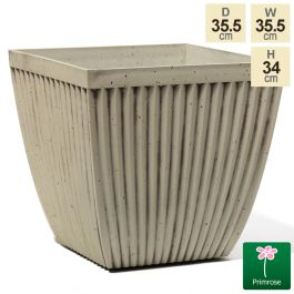 35.5cm Flared Square Patterned Pigeon White Planter