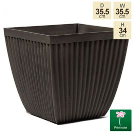 35.5cm Flared Square Patterned Pigeon Grey Planter
