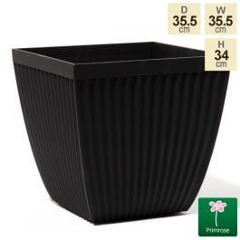 35.5cm Flared Square Patterned Matt Black Planter