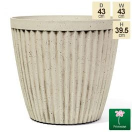 43cm Round Patterned Pigeon White Planter