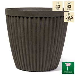 43cm Round Patterned Pigeon Grey Planter