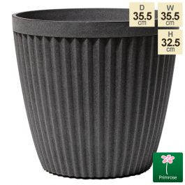 35.5cm Round Patterned Artisan Grey Planter