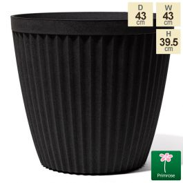 43cm Round Patterned Matt Black Planter