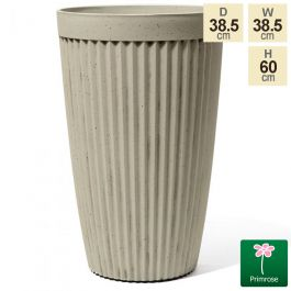 60cm Tall Round Patterned Pigeon White Planter