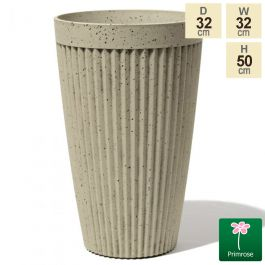 50cm Tall Round Patterned Pigeon White Planter