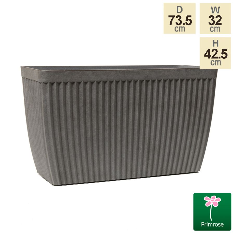73.5cm Trough Grey Textured Planter