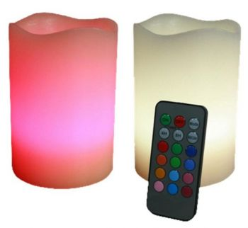 Flicker Flame™ Set of 2 Colour Changing Real Wax LED Candles With Remote Control