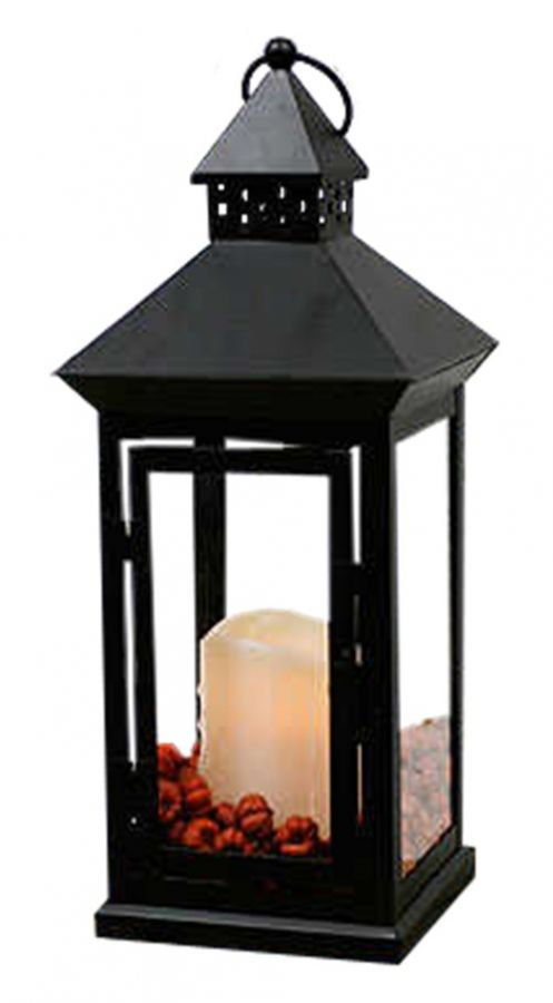 Flicker Flame Black Cast Iron Lantern With Led Vanilla