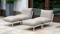 Beach Lounge Sofa Footstool in Taupe Grey