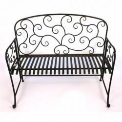 Antique Bronze Folding Iron Swirl Garden Bench