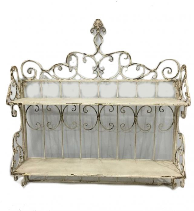 Outdoor Antique Cream Wall Display Shelves - 92cm