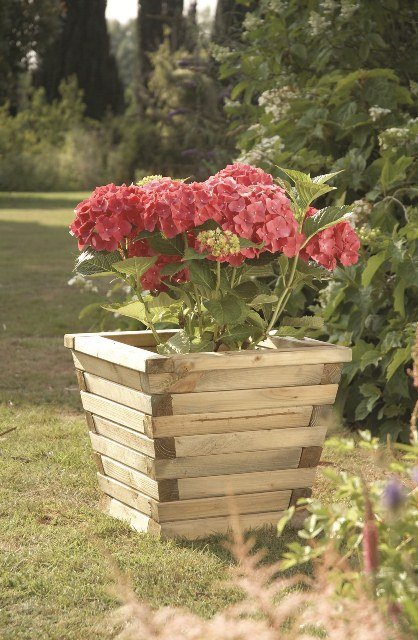 46cm Wooden Timber Small Ludlow Tapered Planter